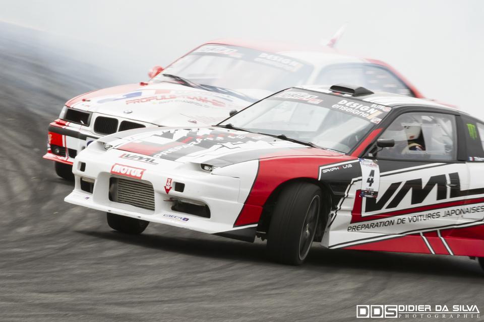 CDF 2014 Round 3 Croix en Ternois - Battle Thierry Dubois Nissan 200Sx RS13 Vs Benjamin Boulbes BMW E36.jpg