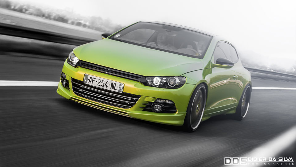 Meeting Anderlecht 2012 Volkswagen Scirocco green tuning on road.jpg
