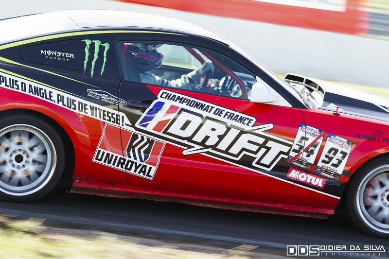 Franck Montagny qui fait ses premiers essais avec la Ford Mustang du Championnat de France de Drift